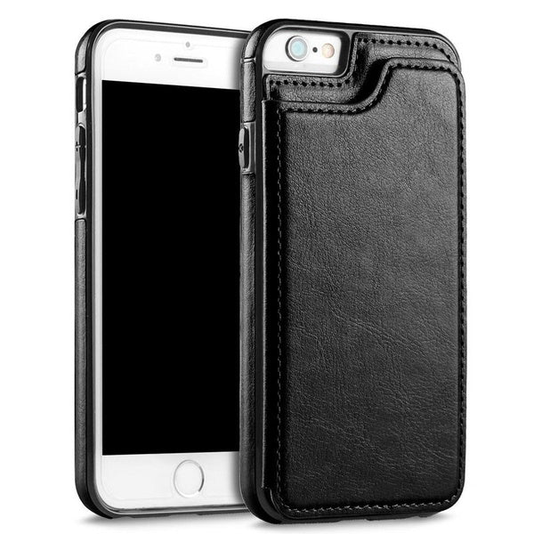 High-grade Business Men Women Magnetic Leather Wallet Case Card Slot Shockproof Flip Cover for Samsung