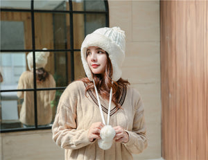 Winter women's wool hat knit warm ear rabbit fur ball autumn and winter models ladies hat thickening