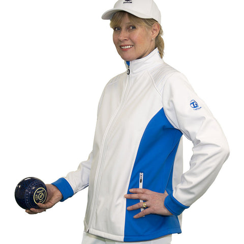 Taylor White/Blue Ladies Softshell Sports Jacket