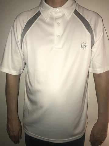 Gents Clyde White Polo with Grey Trim