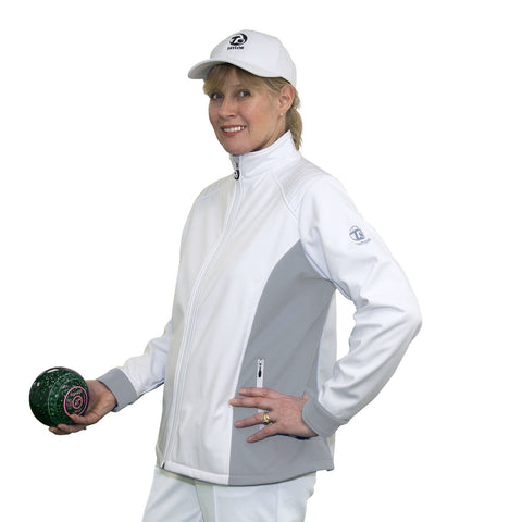 Ladies Soft Shell Jacket White/Grey