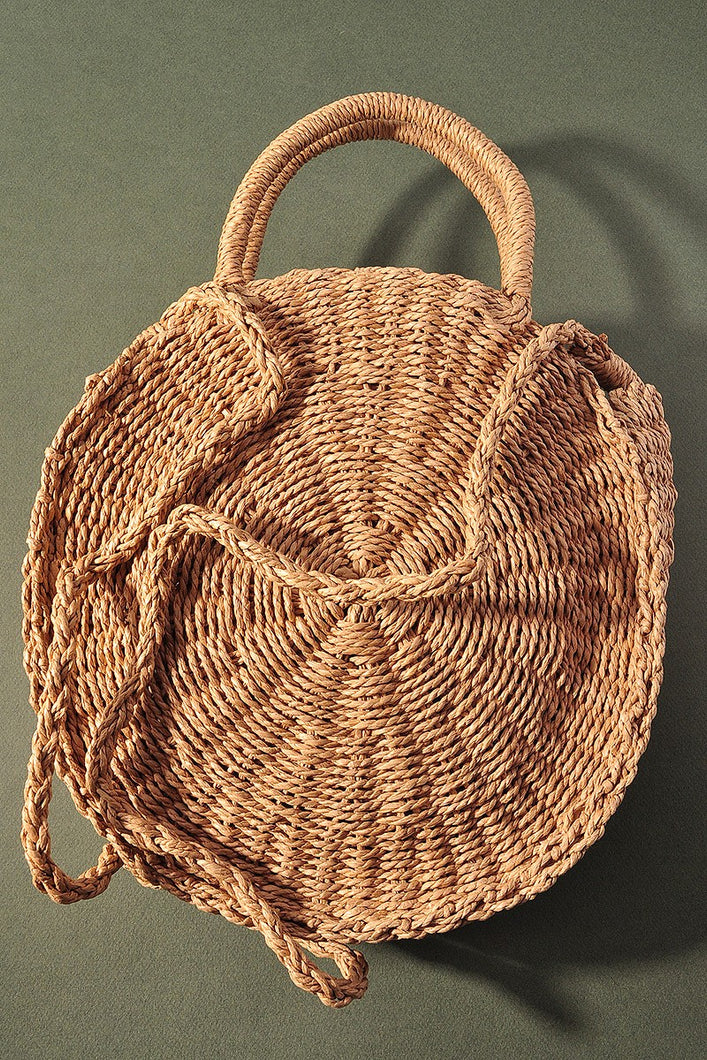 Rounded Straw Tote Bag