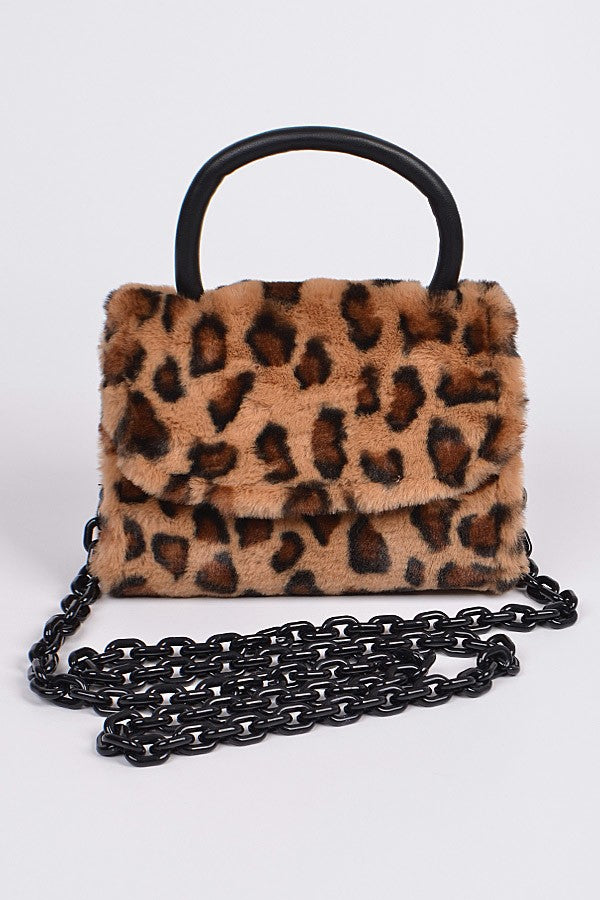 Leopard Faux Fur Clutch