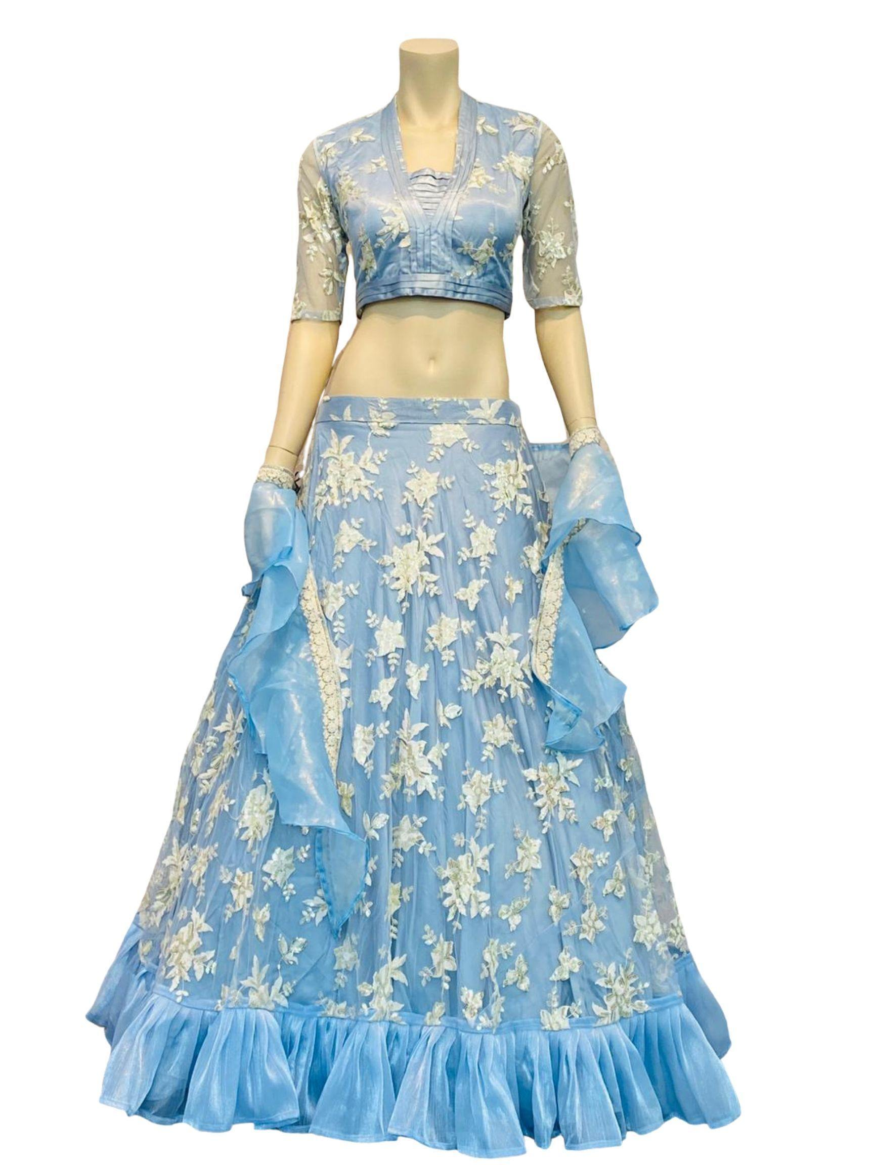 Light blue lehenga with ruffles