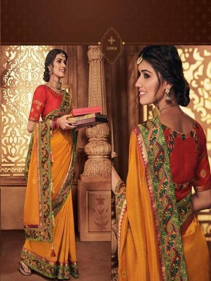 Orange and Red Embroidered Saree