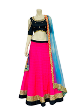 Load image into Gallery viewer, Pink and Blue Lehenga Choli - Jyotika Patel Designs