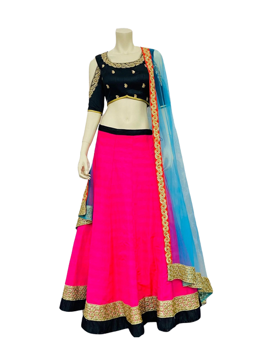 Pink and Blue Lehenga Choli - Jyotika Patel Designs