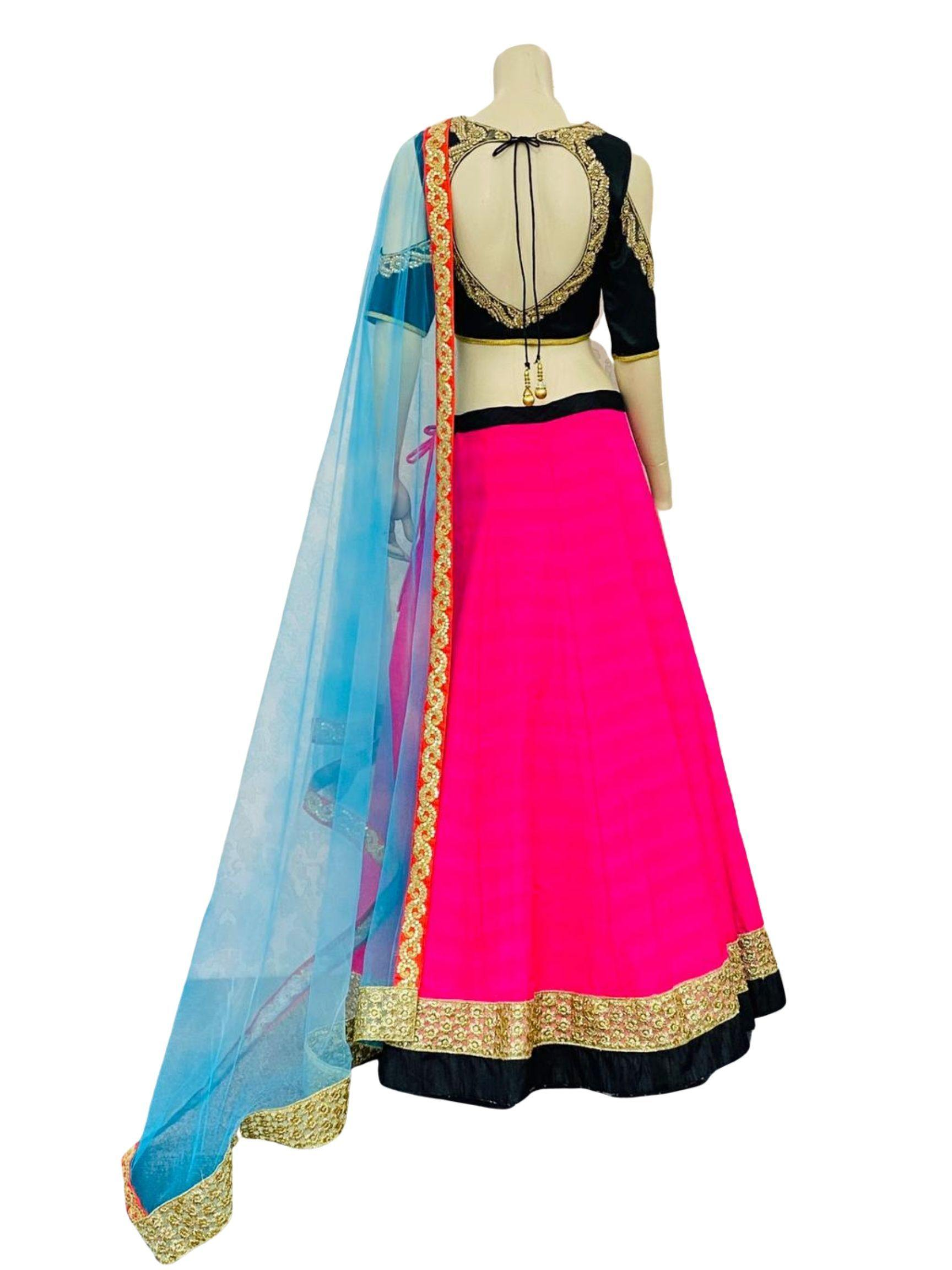 Pink and Blue Lehenga Choli