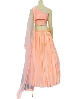 Peach Colored Crop Top Skirt