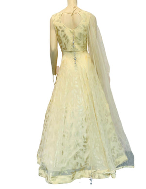 Light Lemon Yellow Anarkali Gown