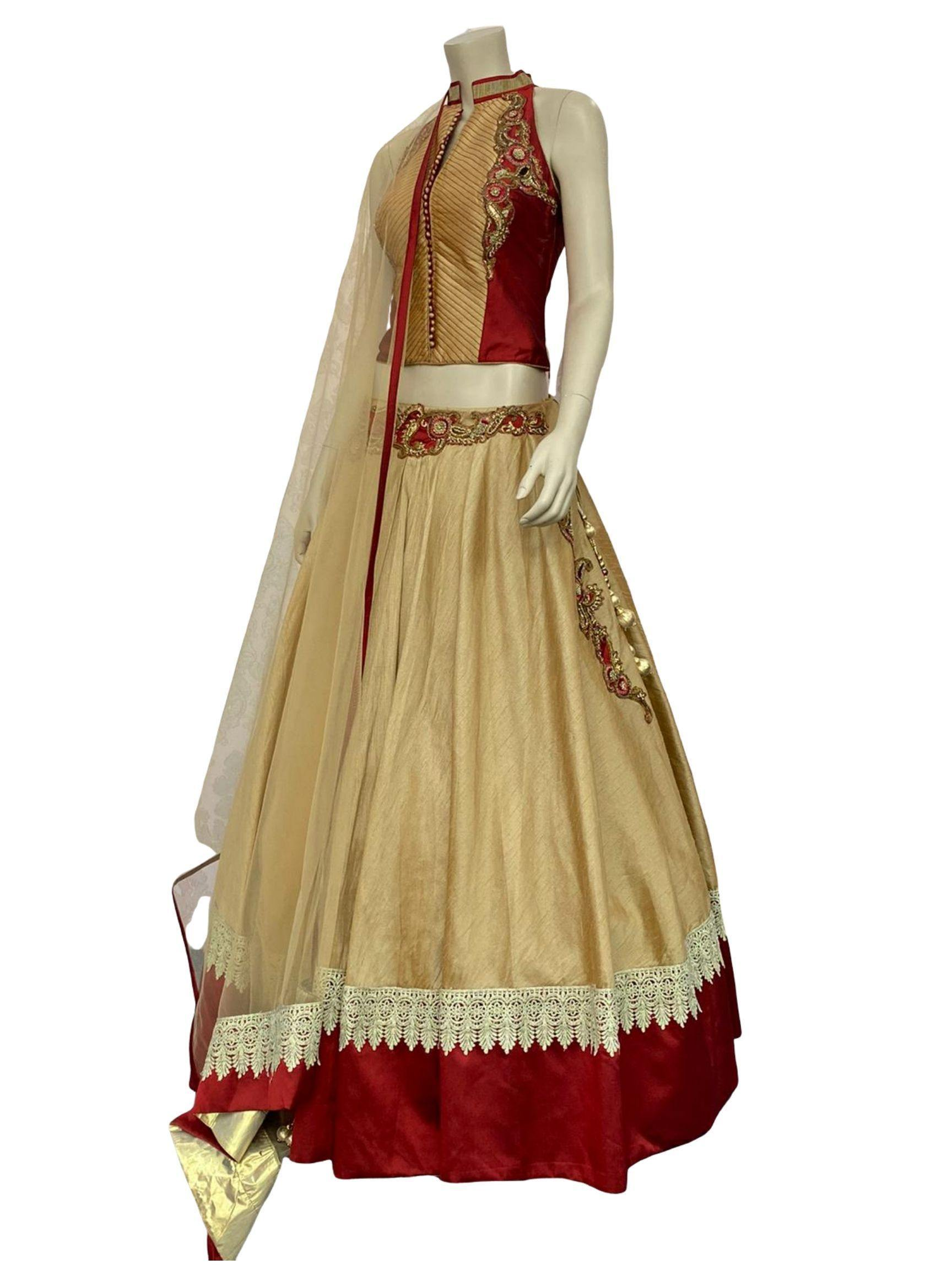 Gold and Maroon Color Lehenga Choli
