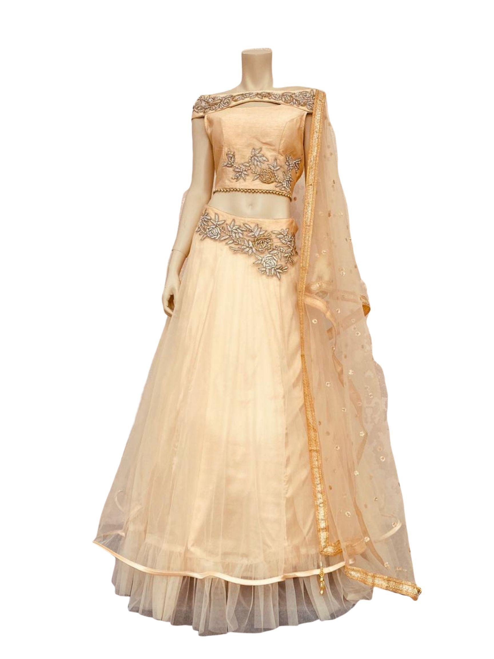 Peach Color off shoulder Lehenga Choli