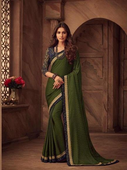 Mehendi Green and Navy Blue Saree - Jyotika Patel Designs