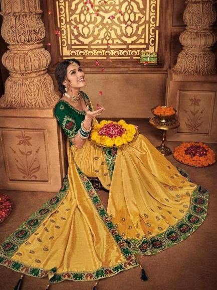 Yellow Embroidery Saree with Green blouse - Jyotika Patel Designs