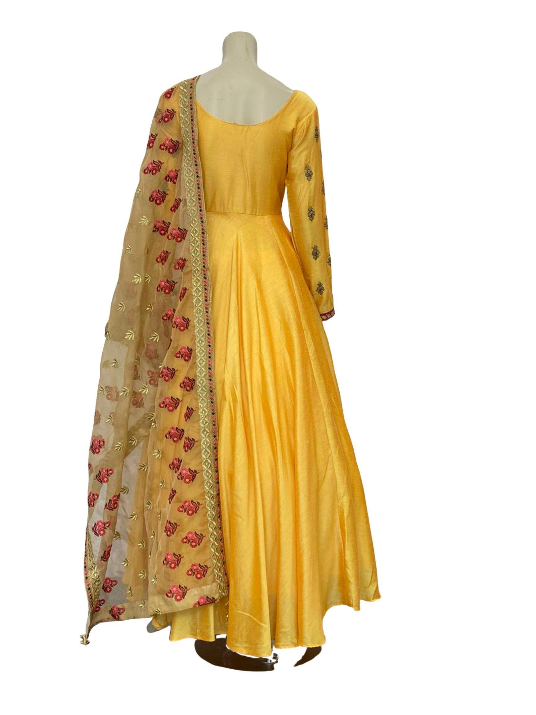 Summery Yellow Anarkali with beautiful Dupatta