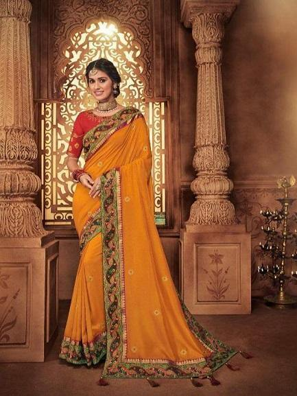 Orange and Red Embroidered Saree - Jyotika Patel Designs