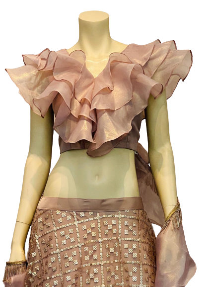 Beautiful Peach Gold Ruffle Lehenga Choli