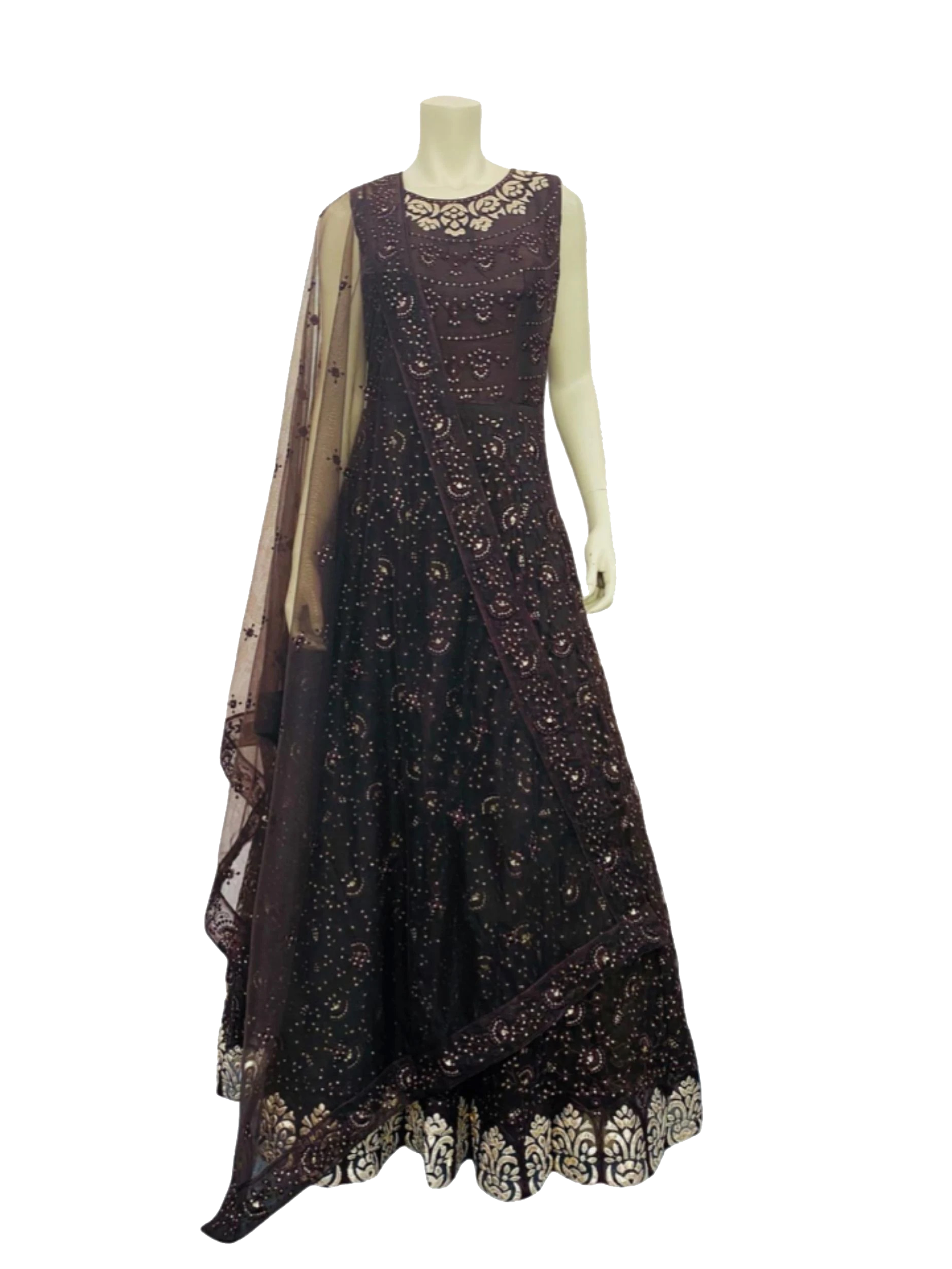 Brown Colour Lakhnavi Anarkali Gown