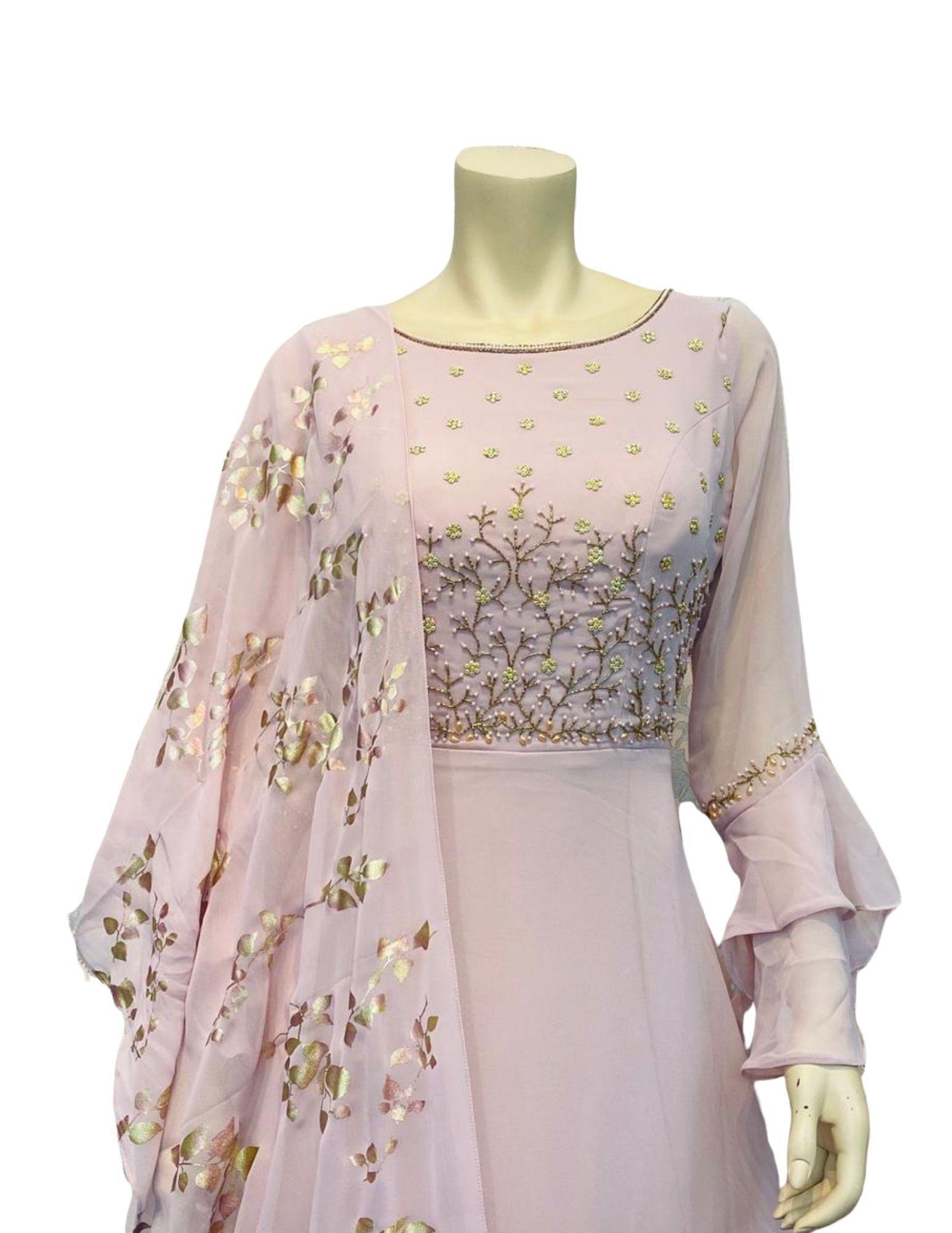 Light Peach Color Anarkali Gown