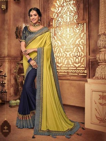 Navy and Lemon Yellow Saree - Jyotika Patel Designs