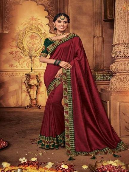 Red Color Designer Saree with Green embroidered Blouse