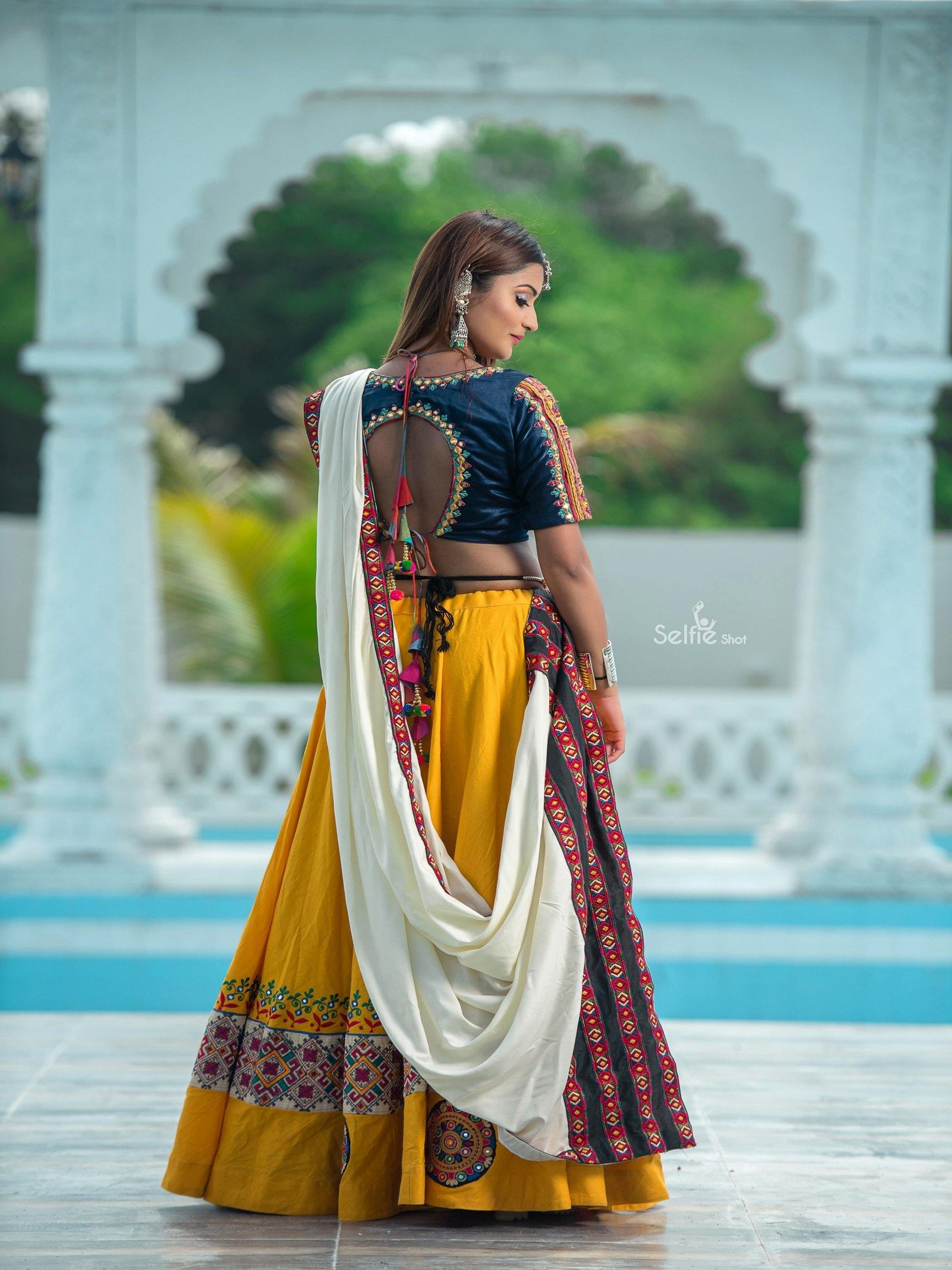 Bright Yellow and Navy Blue Chaniya Choli