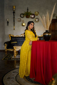 Corn Yellow Lucknowi Palazzo Suit with Jacket