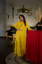 Load image into Gallery viewer, Corn Yellow Lucknowi Palazzo Suit with Jacket