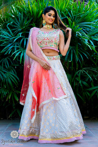 Light gray lengha with multi-color dupatta