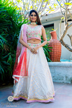 Load image into Gallery viewer, Light gray lengha with multi-color dupatta