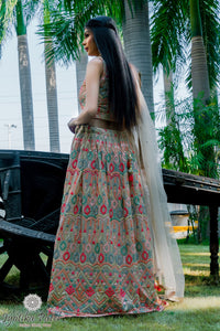 Beige Nude Lengha with multicolor embroidery handwork