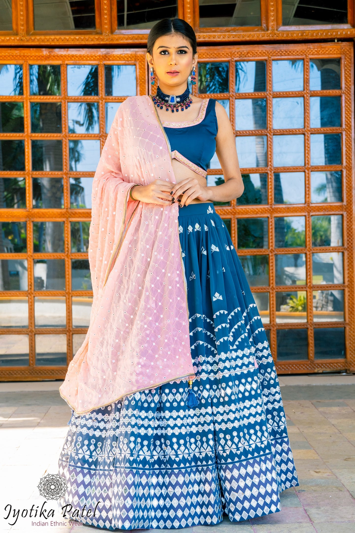 Royal Blue Lengha with silver foilwork