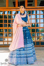 Load image into Gallery viewer, Royal Blue Lengha with silver foilwork