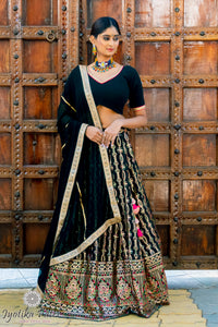 Dark Green and Gold sequnece embroidered Lehenga