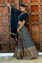 Load image into Gallery viewer, Dark Green and Gold sequnece embroidered Lehenga