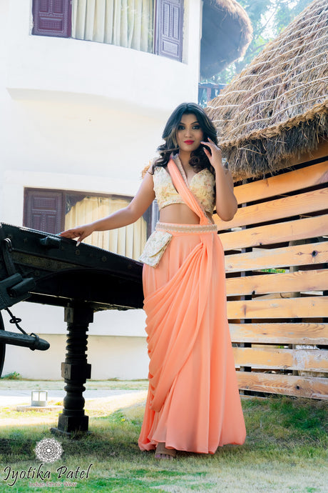 Peach Ready Saree with embellished belt and purse