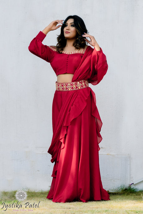 Bright Red Ready Saree with off shoulder blouse