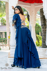 Navy Blue Ready Ruffle Saree