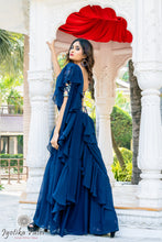 Load image into Gallery viewer, Navy Blue Ready Ruffle Saree