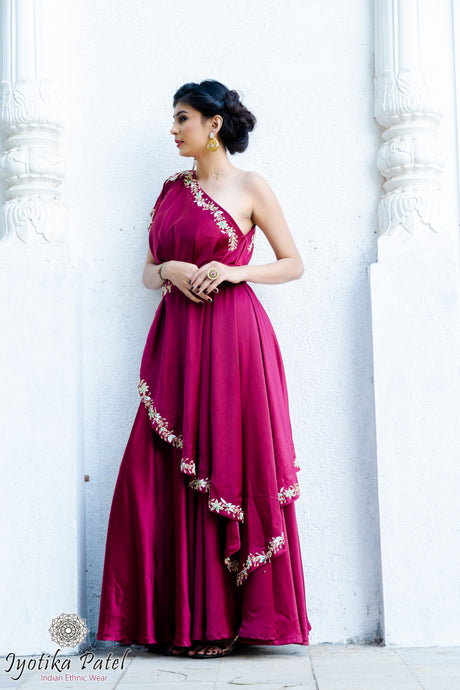 Magenta Pink One-shoulder Lengha
