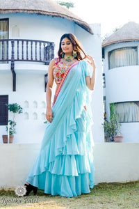 Light Blue Tiered Ready Saree