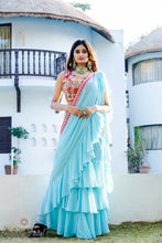Load image into Gallery viewer, Light Blue Tiered Ready Saree