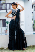 Load image into Gallery viewer, Black sharara with crop top