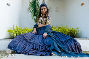 Navy blue full tiered lengha