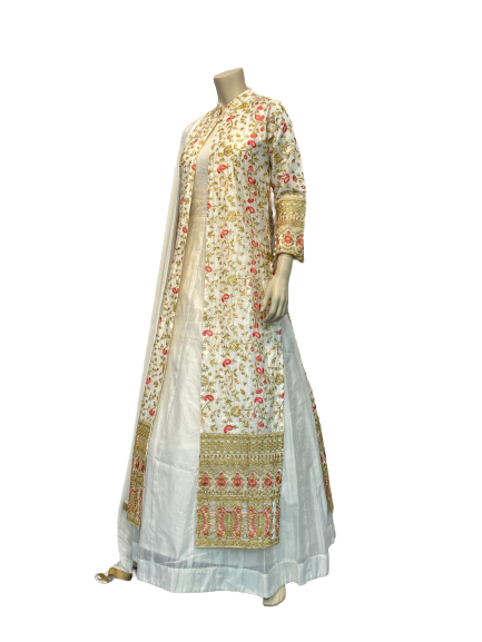 Silver and white design Anarkali Gown