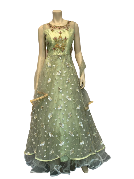 Golden Anarkali Gown