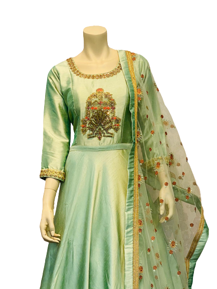 silver Green Anarkali Gown