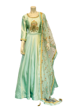 Load image into Gallery viewer, silver Green Anarkali Gown - Jyotika Patel Designs