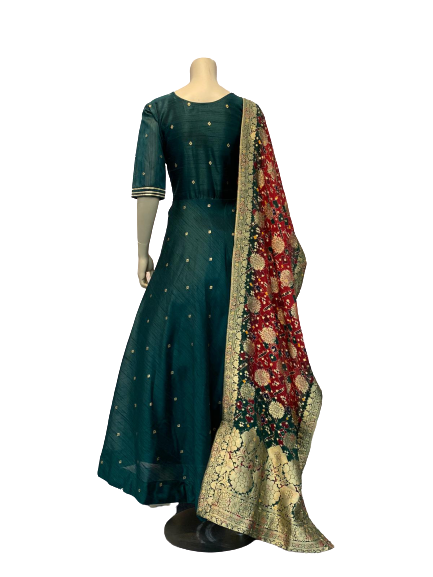 Green Dot Anarkali Gown