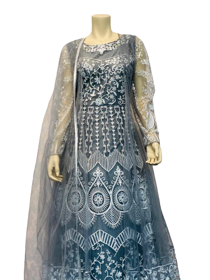 Black and Gray Shade Anarkali Gown